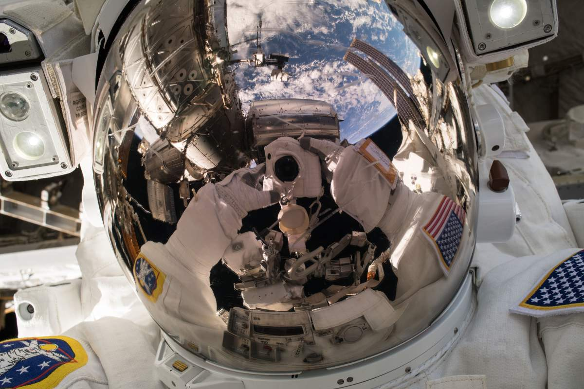 Ricky Arnold selfie during Expedition 55 EVA 2