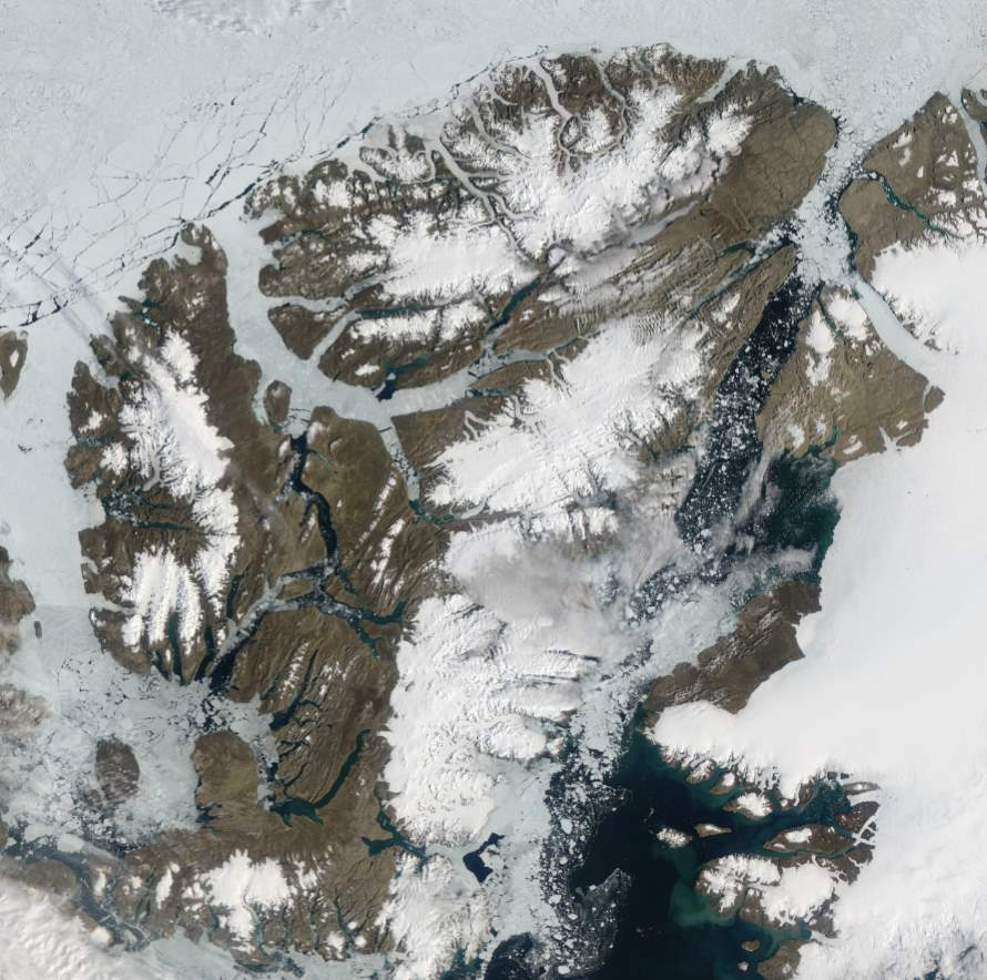 Largest Islands on Earth: Ellesmere Island from space