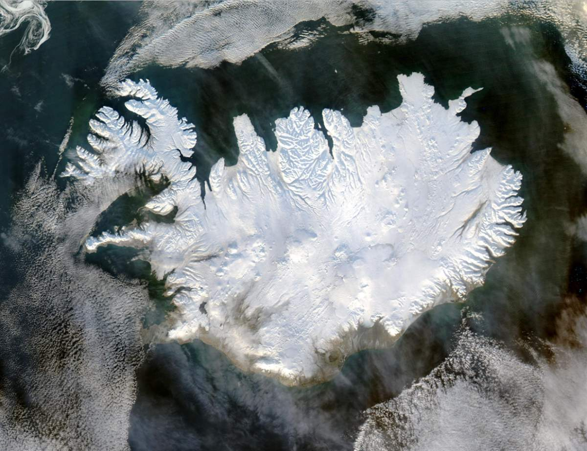 Largest Islands on Earth: Iceland from space