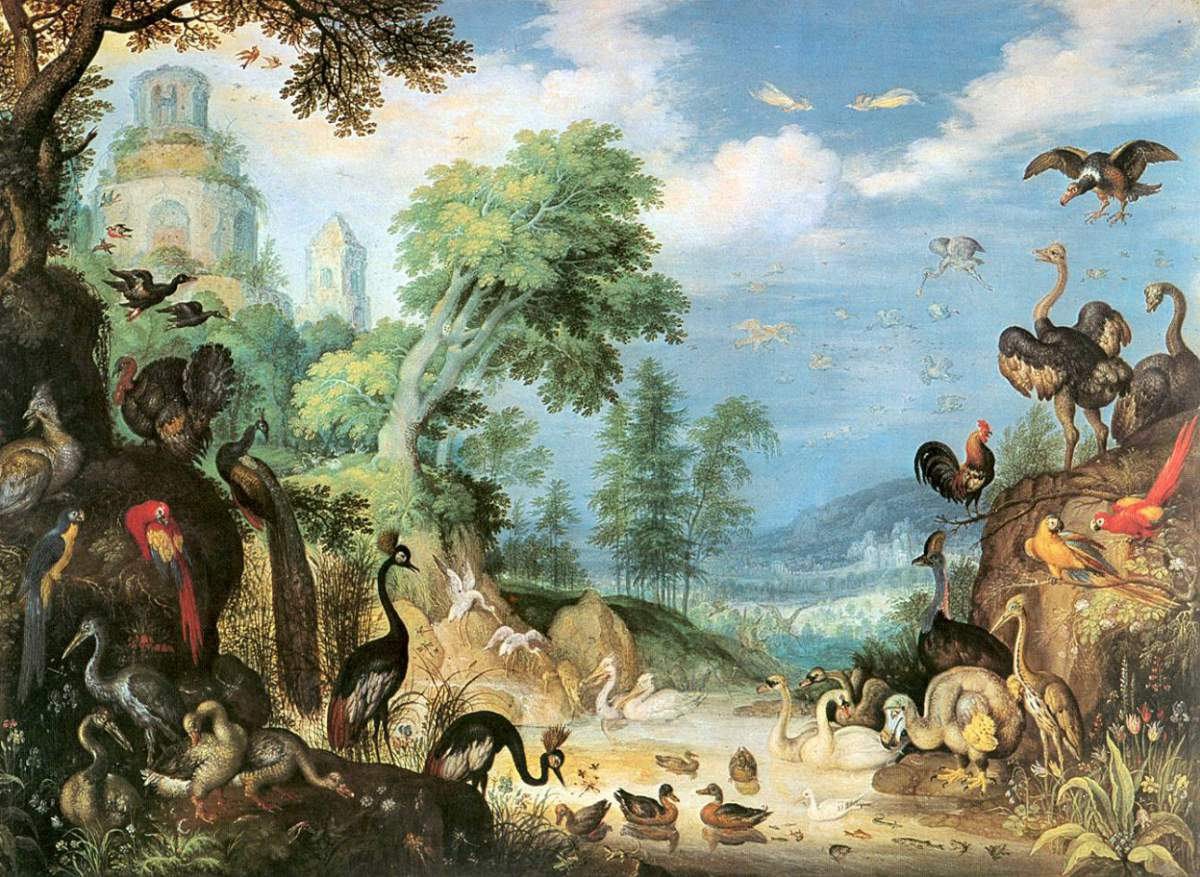 8 major extinctions due to human interference: Landscape with Birds by Roelant Savery, 1628