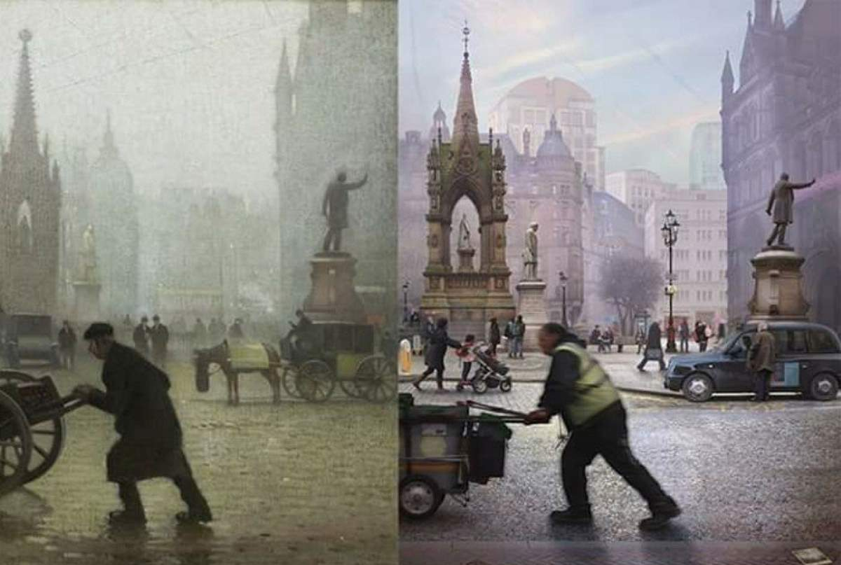 Albert Square, Manchester: an old painting and a contemporary photo