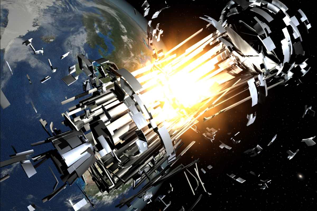 Kessler Syndrome: Explosions of satellites and rocket bodies