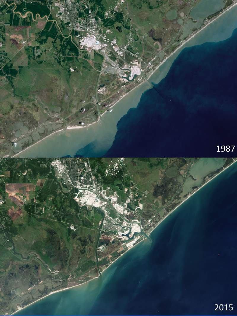 Freeport, Texas sandy beaches, 1987-2015