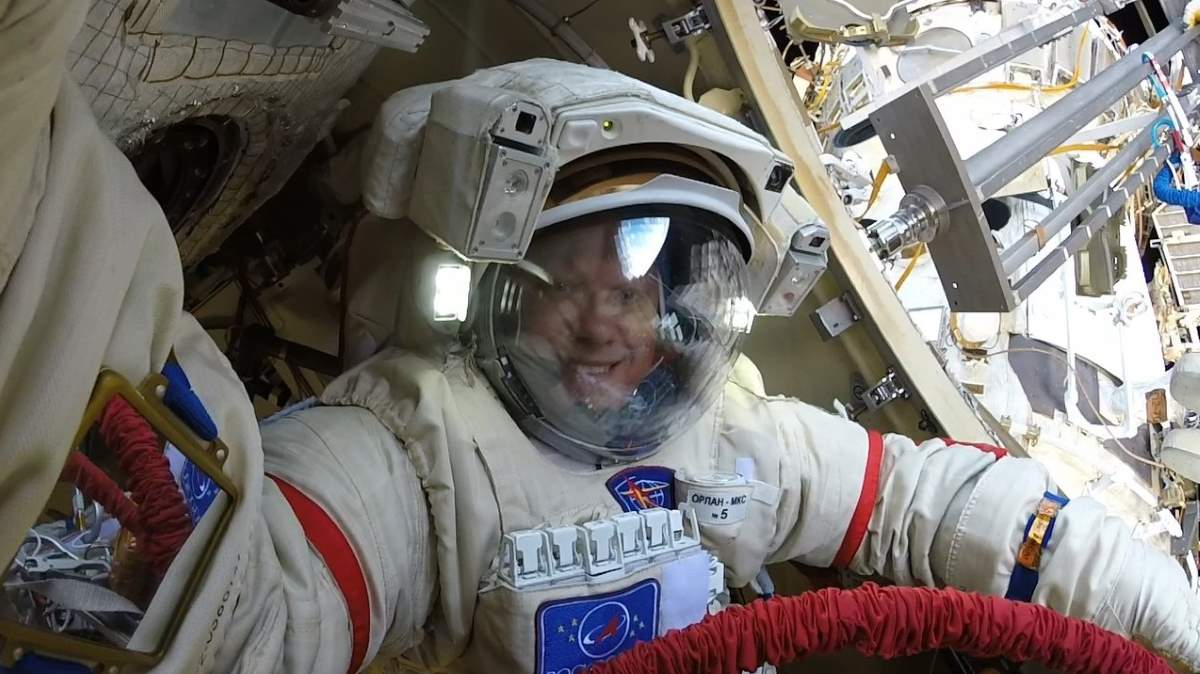 Oleg Artemyev's selfie during the Russian spacewalk on August 15, 2018