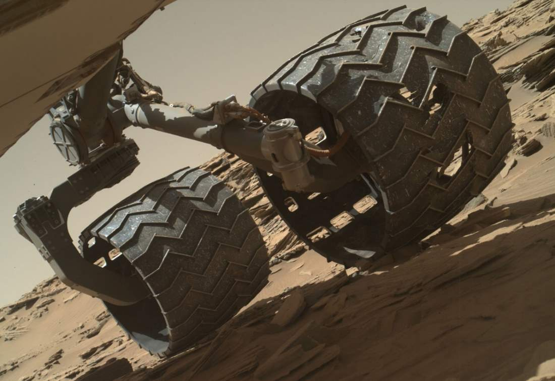 Damaged wheels of the Curiosity rover