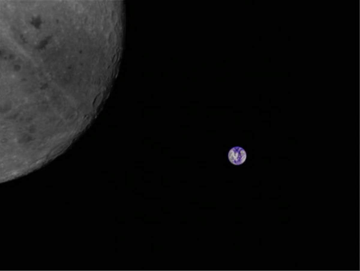 The Earth and far side of the Moon as seen by the Chinese Longjiang-2 lunar orbiting spacecraft