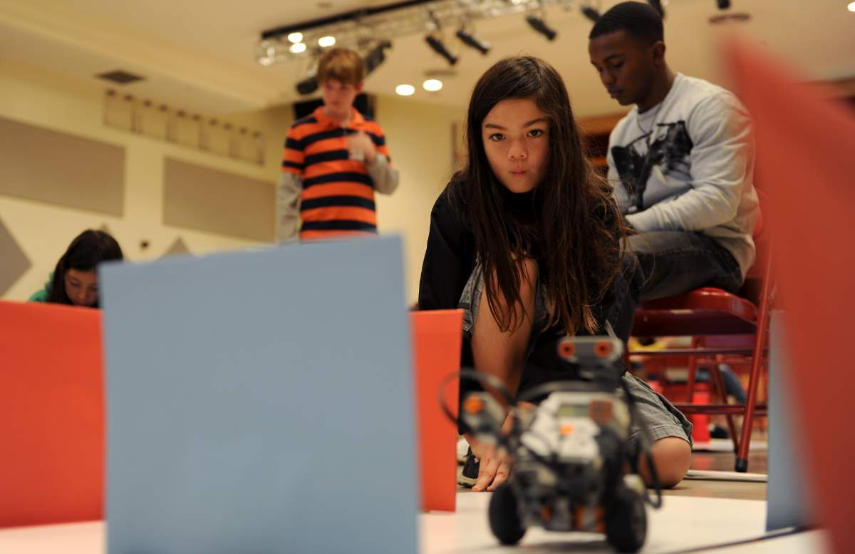 Students programming robots
