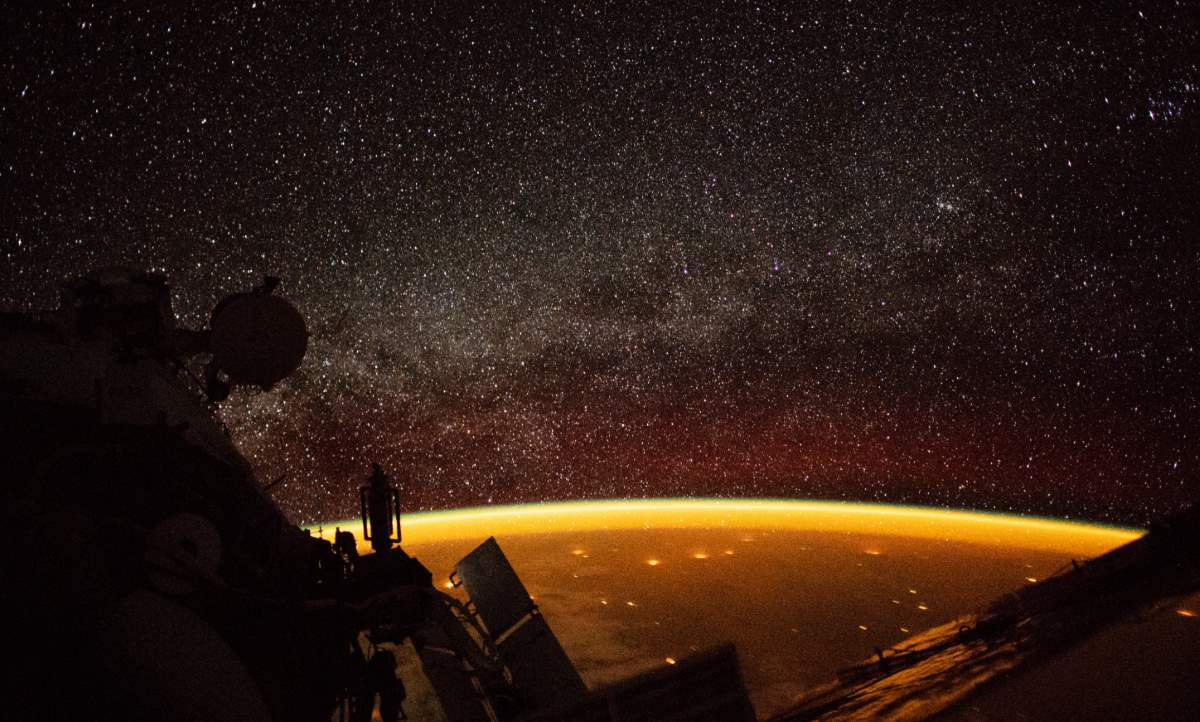 Earth Enveloped in an Orange Airglow