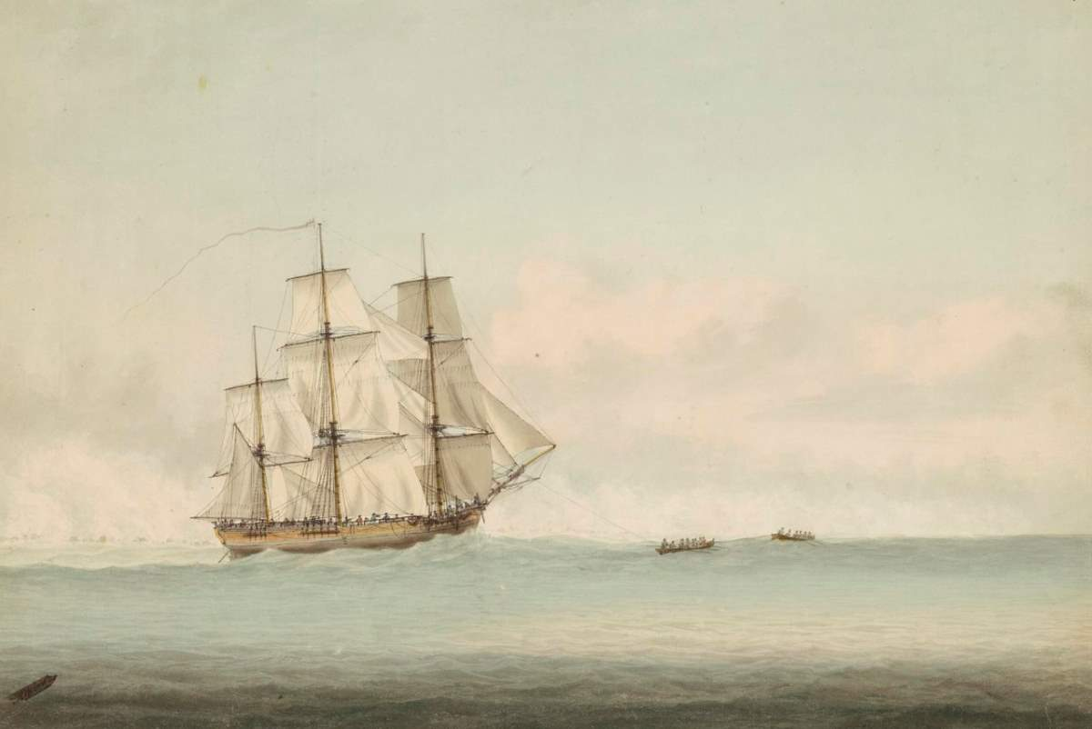 HMS Endeavour off the coast of New Holland, by Samuel Atkins