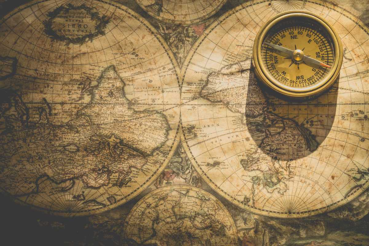 An old map and a compass