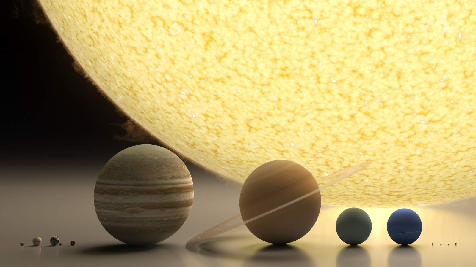 Sun, planets and dwarf planets size comparison