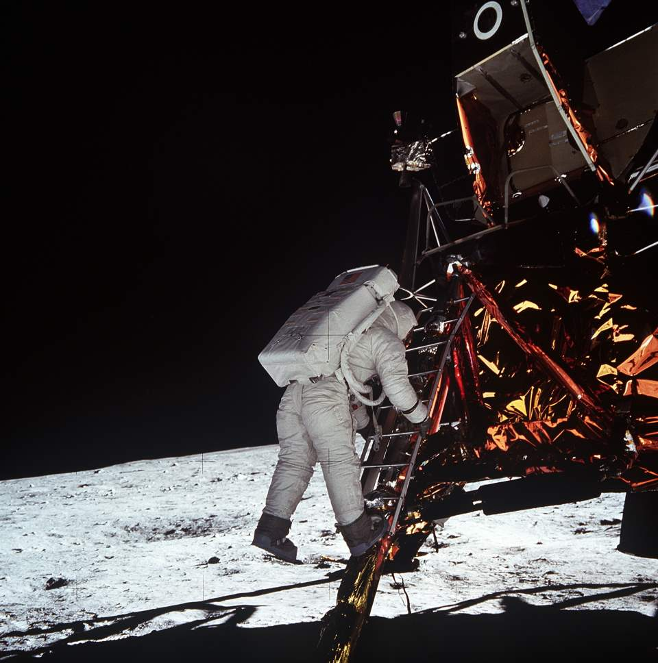 Buzz Aldrin about to step on the Moon