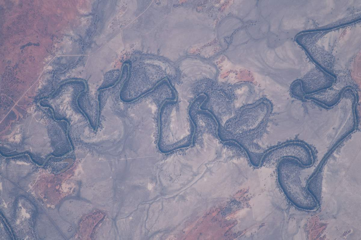 Top 10 Most Beautiful Earth Photos Taken From the International Space Station in 2018: The Darling River in the city of Wilcannia
