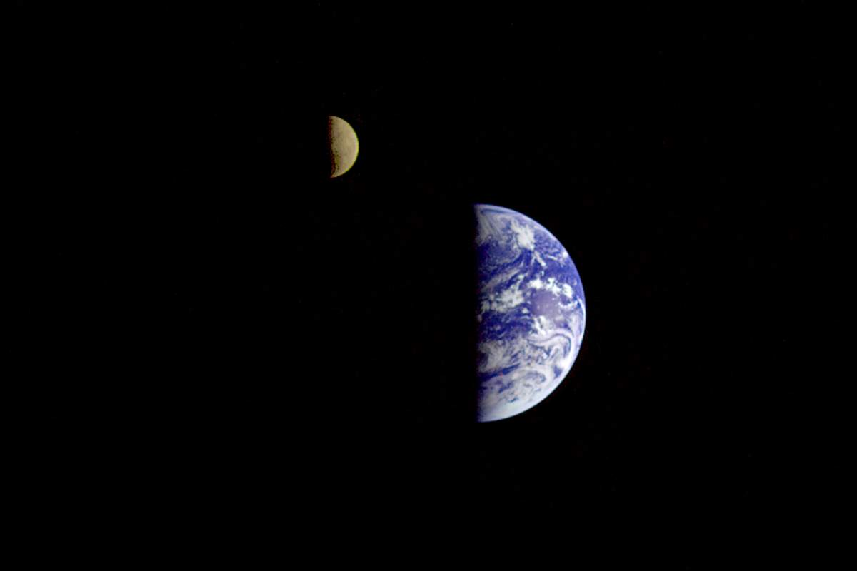 Earth and Moon from the Galileo spacecraft (1992)