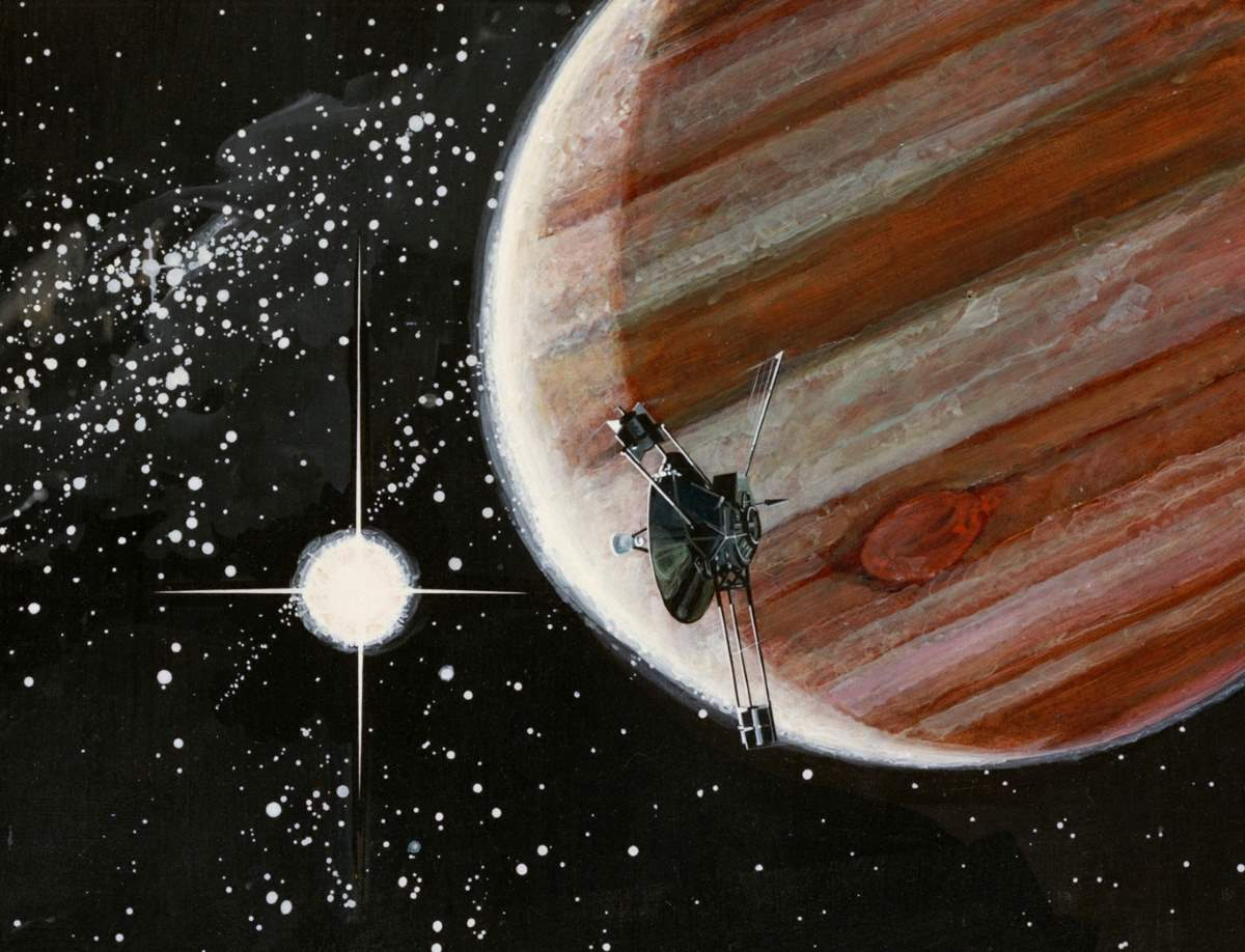 Space probes leaving the solar system: Artist's impression of Pioneer 10's flyby of Jupiter