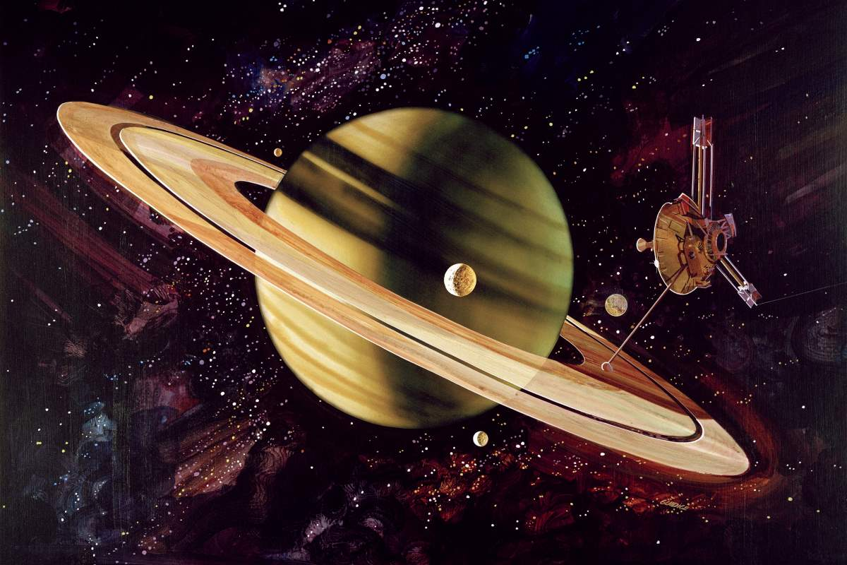 Space probes leaving the solar system: Artist's impression of Pioneer 11's flyby of Saturn