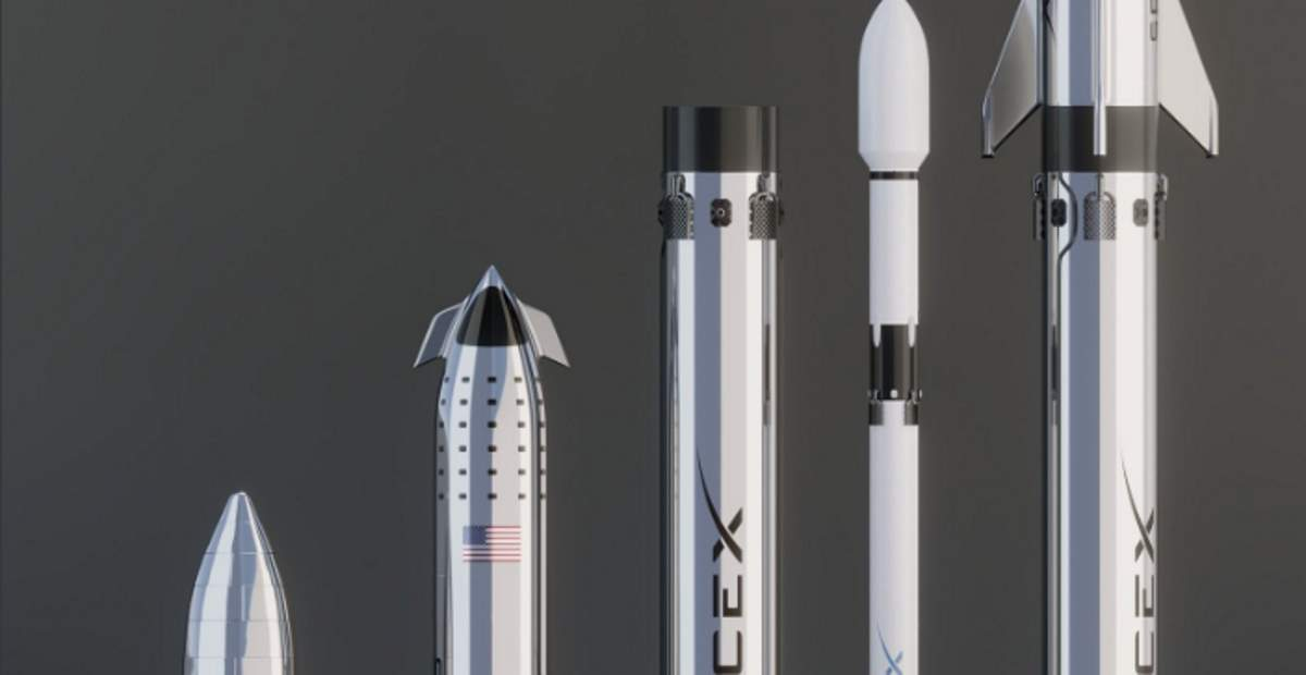 SpaceX Starhopper - Starship - Super Heavy booster - Falcon 9 3D comparison (cropped image)