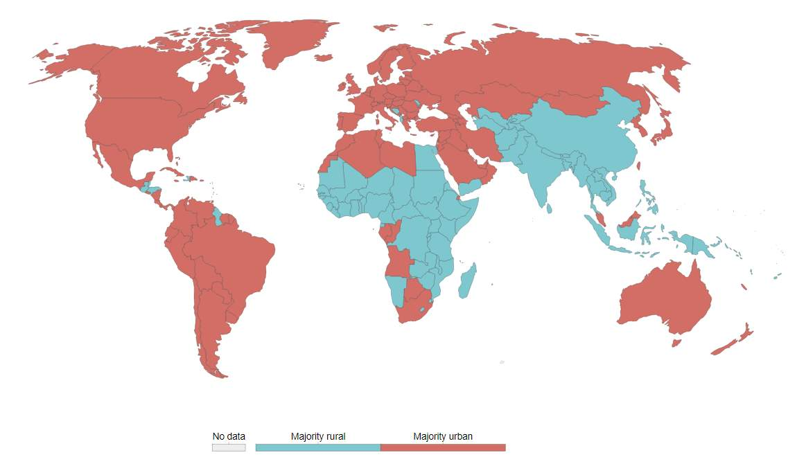 Urbanization of the world - 2000