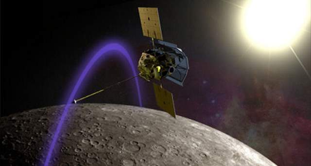 NASA's MESSENGER spacecraft orbiting Mercury - artist conception