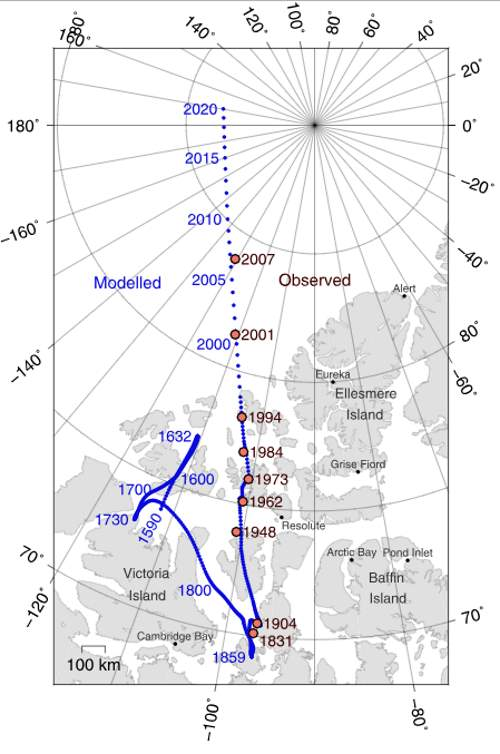 Locations of North Magnetic Pole Since 1590