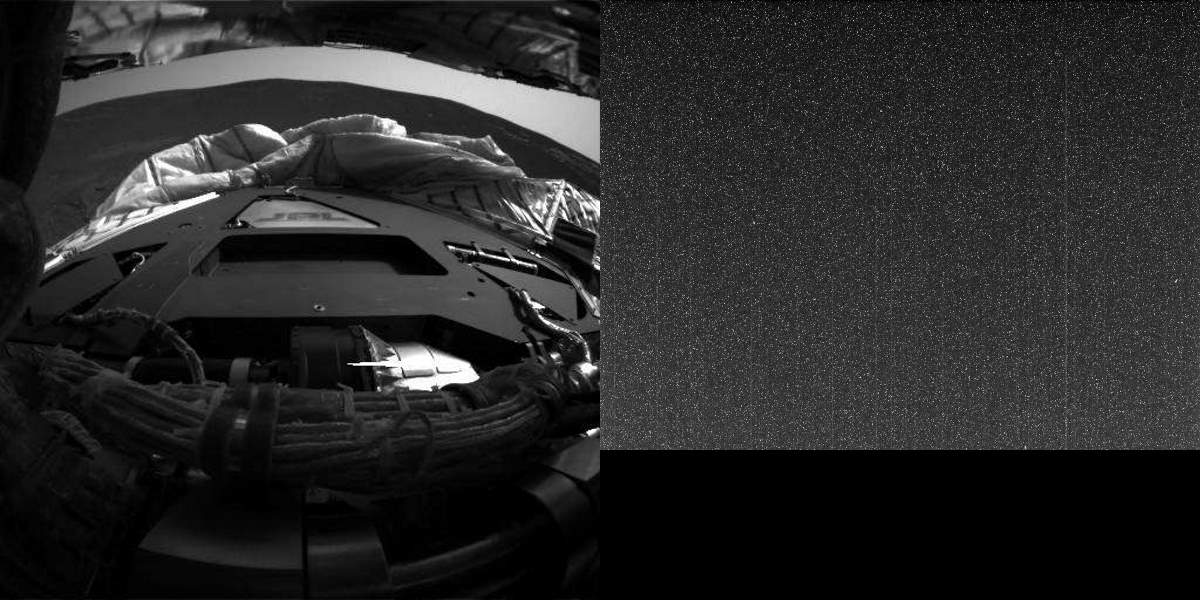Opportunity images from Sol 1 (left) and Sol 5111 (right)
