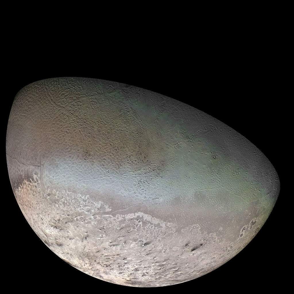 Global Color Mosaic of Triton, taken by Voyager 2 in 1989