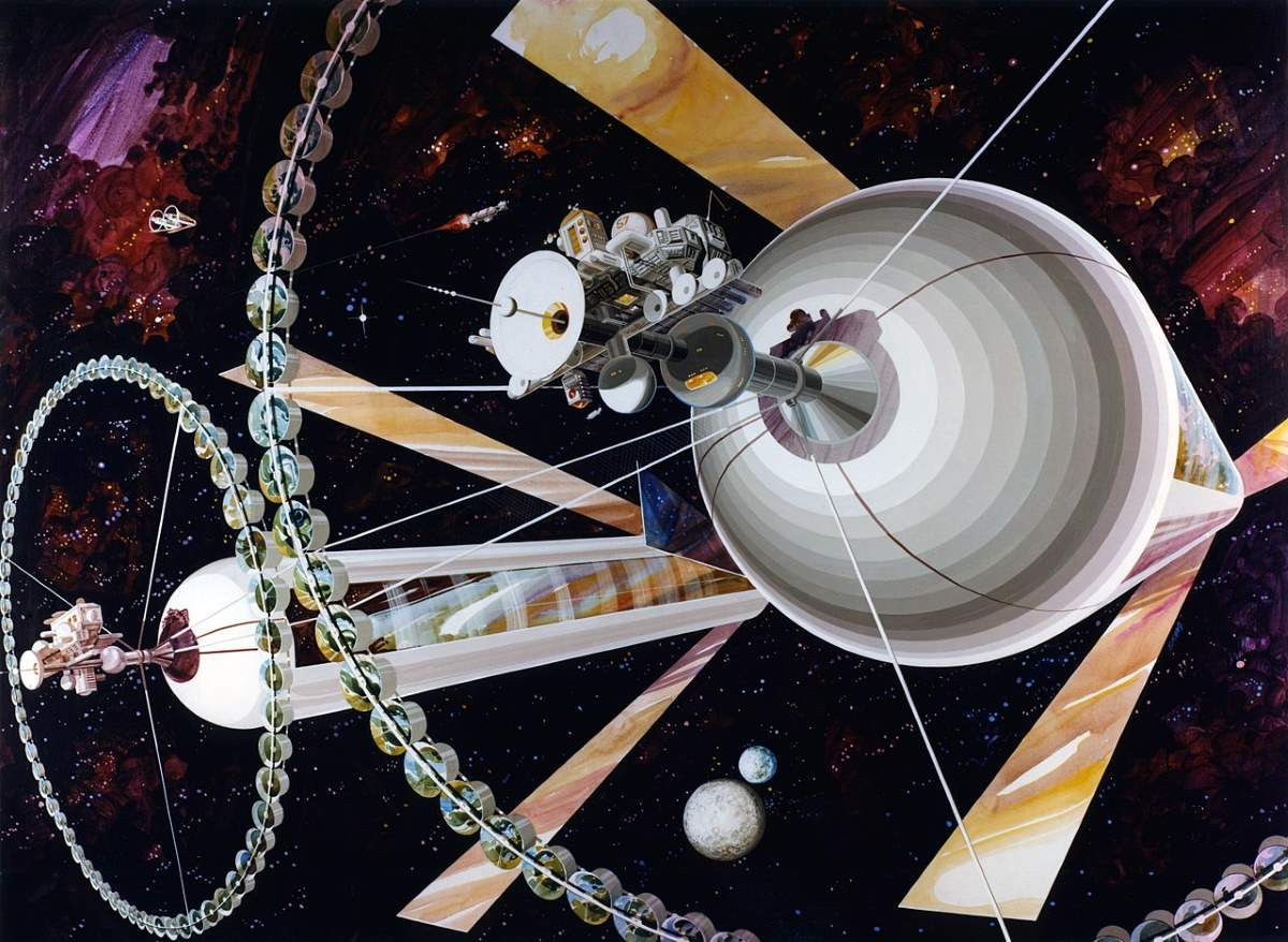 O'Neill cylinders as illustrated in The High Frontier: Human Colonies in Space