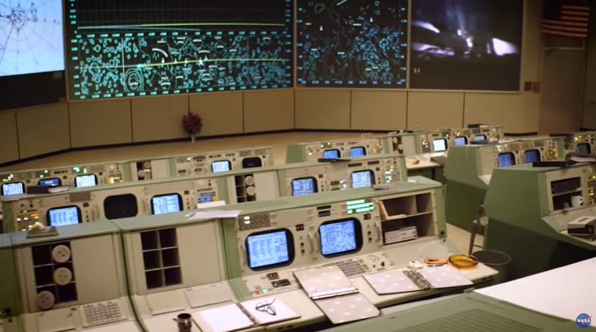 Restored version of the historic NASA Apollo Mission control room.