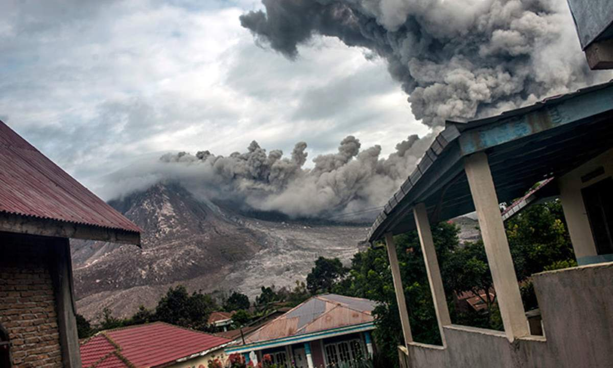 Pyroclastic activity at Mount Sinabung, on 24 June 2016 in Karo, Indonesia.