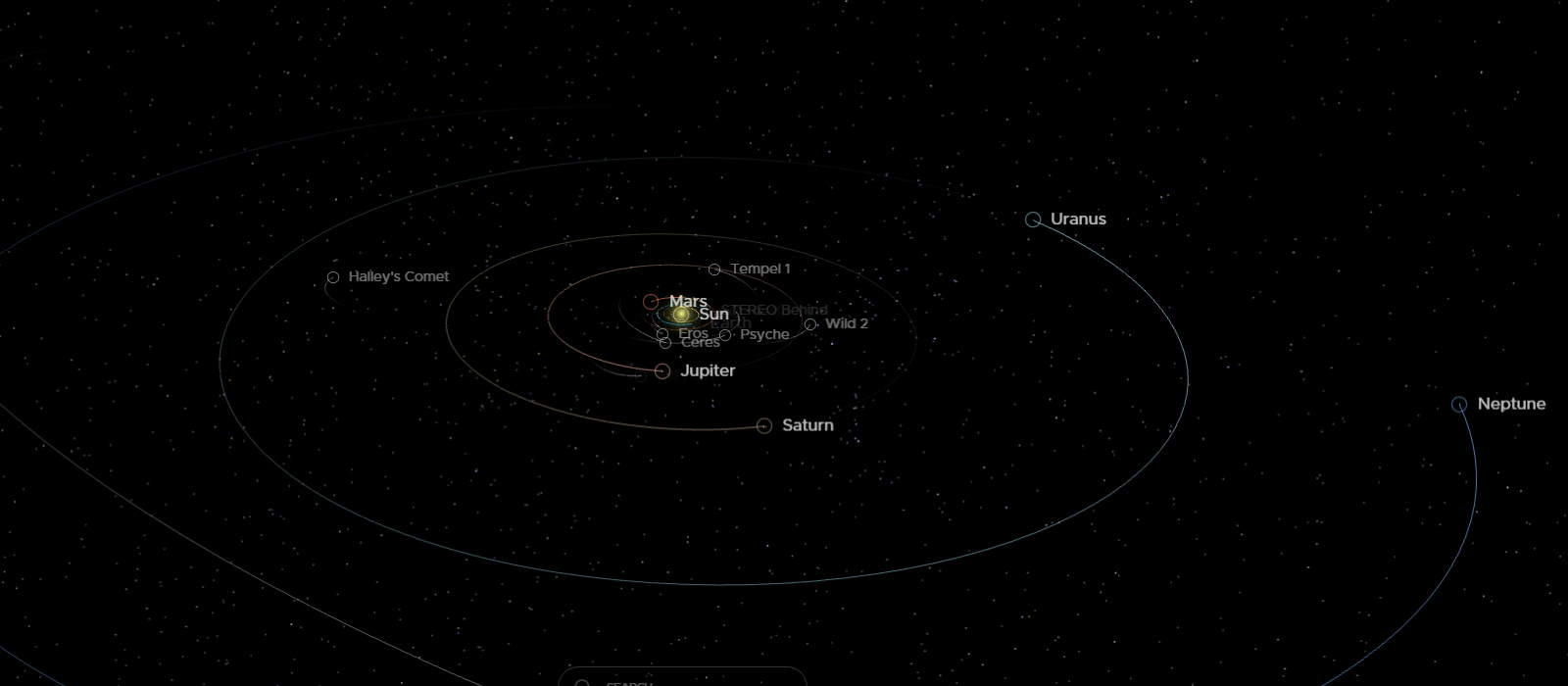 Solar system map as of July 17, 2019