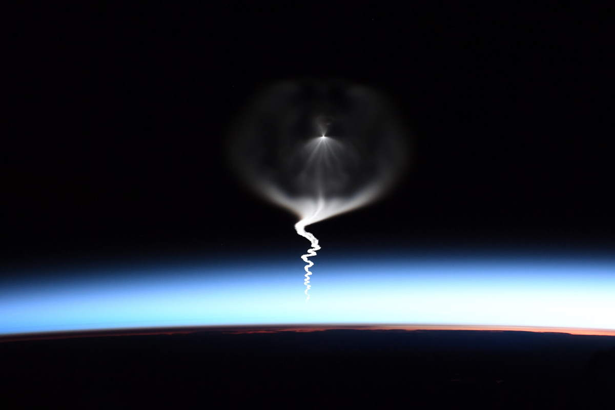 Expedition 61 launch from the ISS