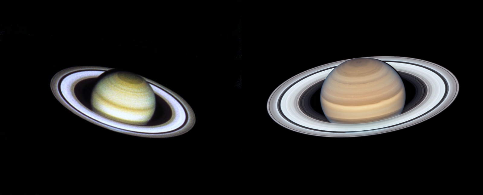 Hubble images of Saturn (1990, 2019)