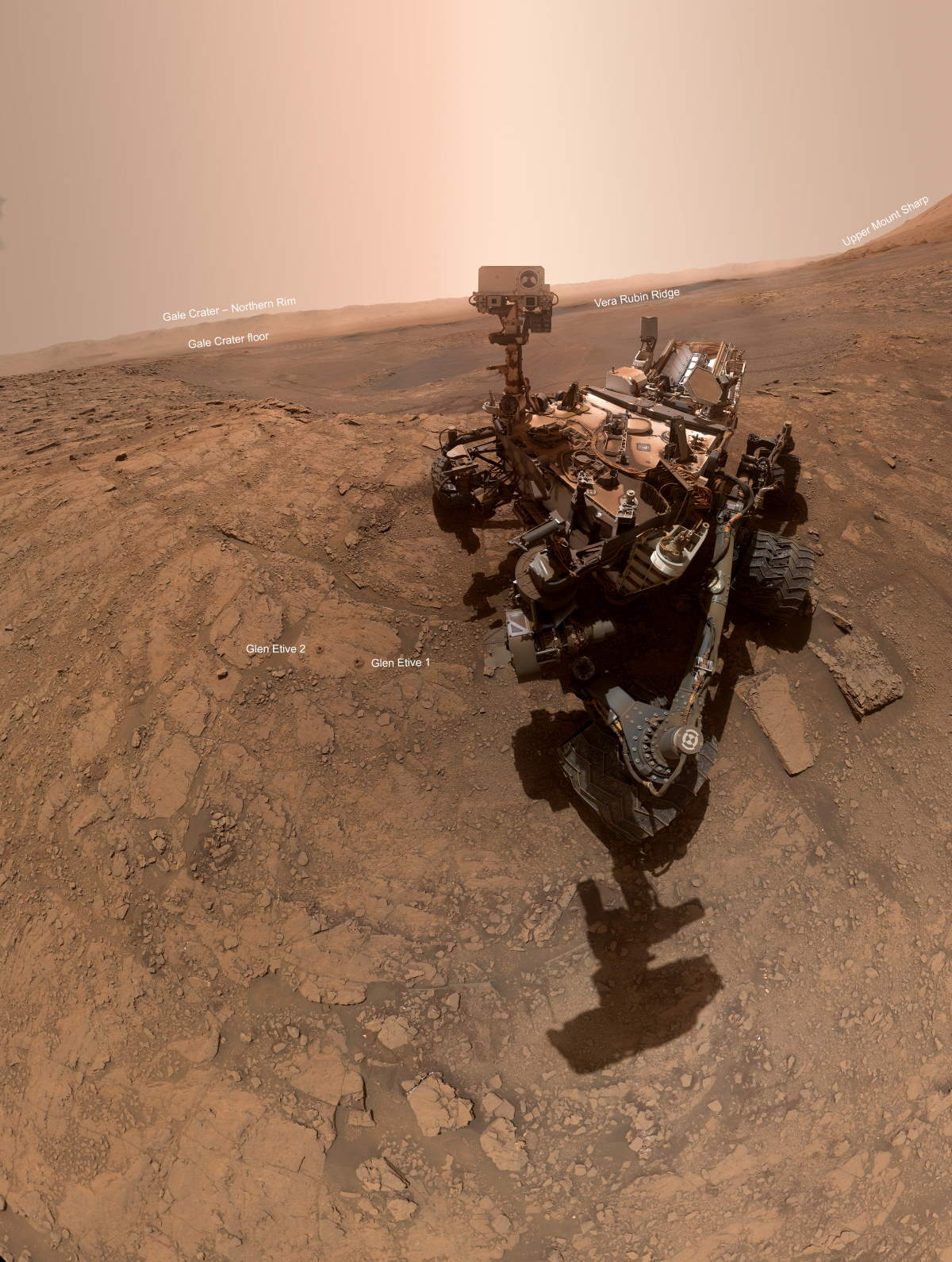 Curiosity Rover selfie (October 11, 2019) - annotated version