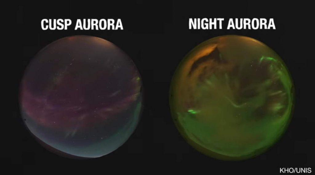 Cusp aurora (atmosphere leaking) vs night aurora