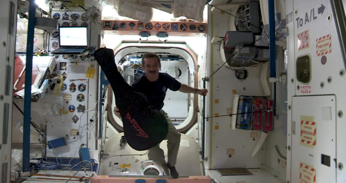 An Astronaut's Christmas Carol - Jewel in the Night. Chris Hadfield with his guitar in the ISS