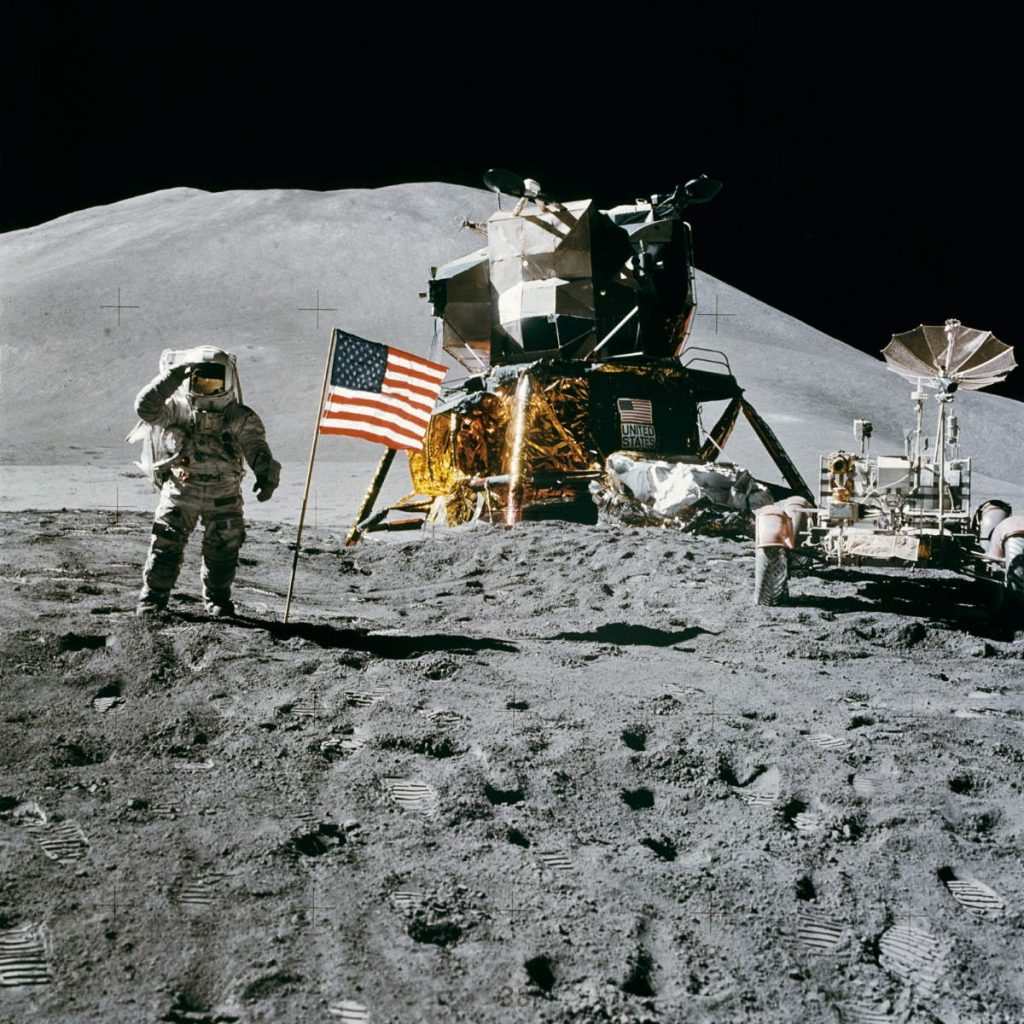 Moon landing was faked? James B. Irwin salutes the United States flag on the Moon