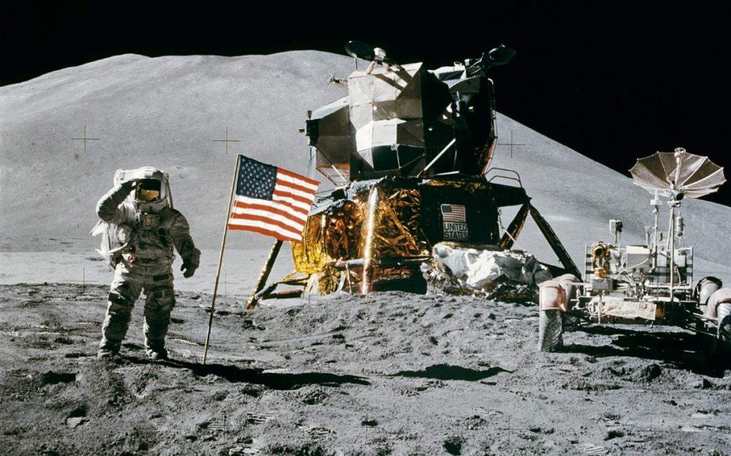 James B. Irwin salutes the United States flag on the Moon (cropped)