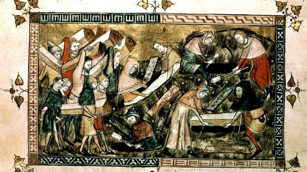 A history of pandemics: Citizens of Tournai bury the black death victims