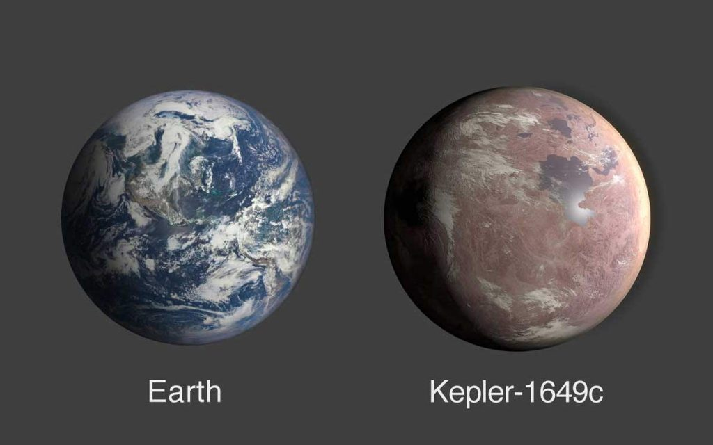 Earth vs Kepler-1649c size comparison