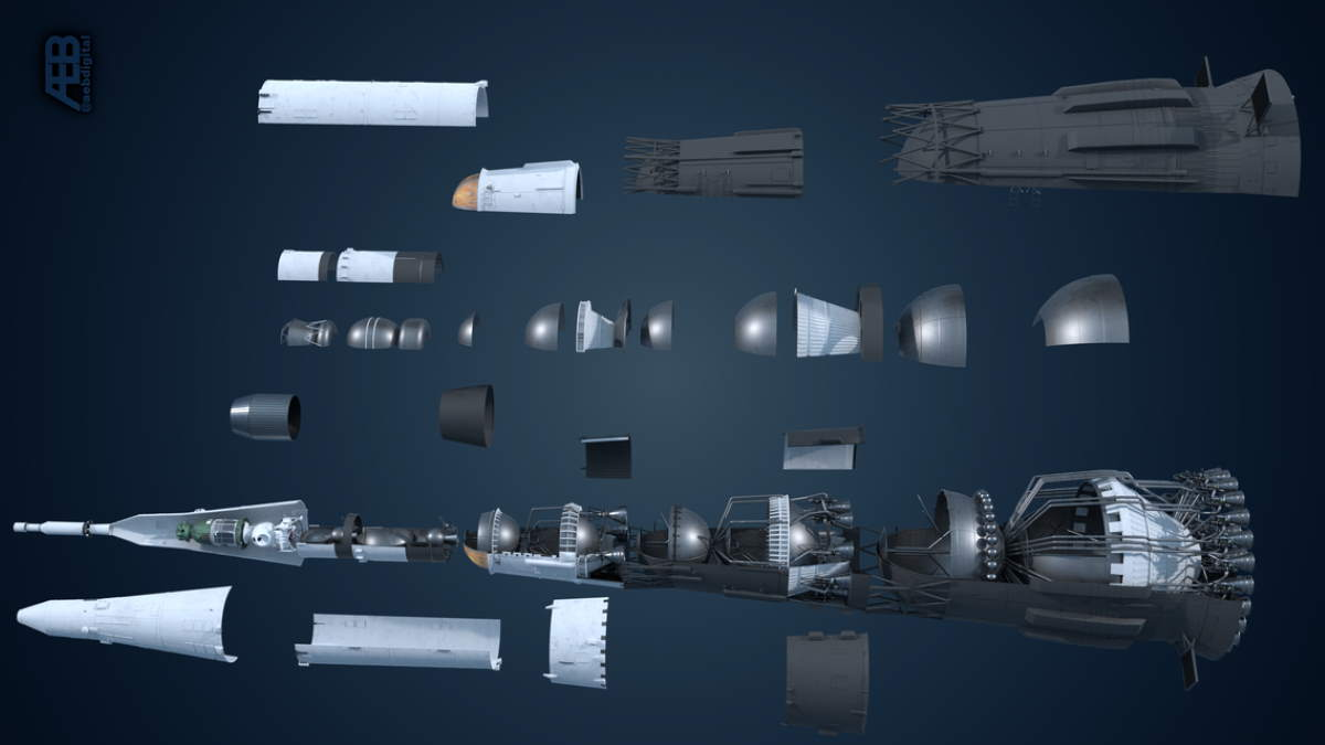 3D model of the Soviet N1 Rocket (rotated)