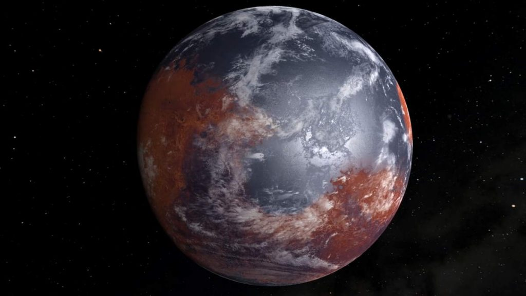Ancient Mars with water on its surface
