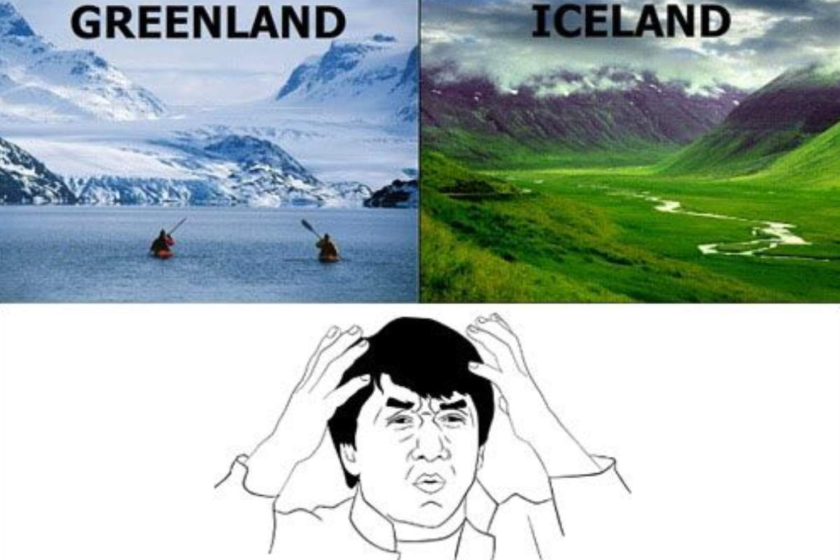 Fun geography facts: Greenland vs Iceland meme
