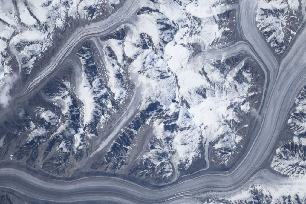 Most Beautiful Earth Photos Taken From the ISS in 2020 - Glaciers in the Pamir Mountains from the ISS. November 4, 2020.