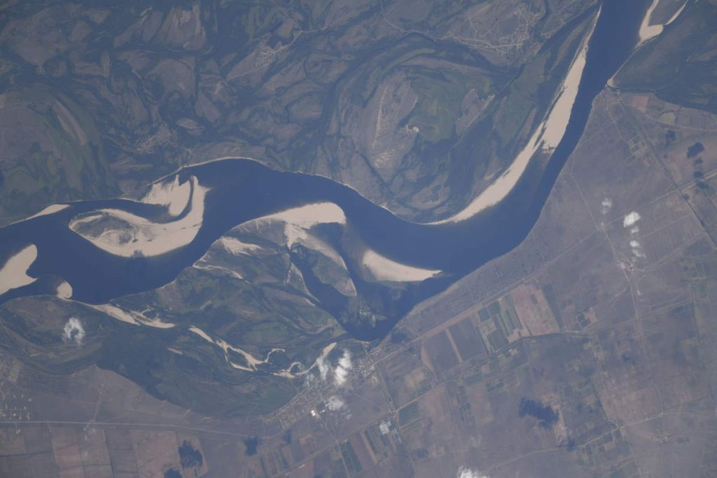 Most Beautiful Earth Photos Taken From the ISS in 2020 - Volga River from the ISS. August 8, 2020.