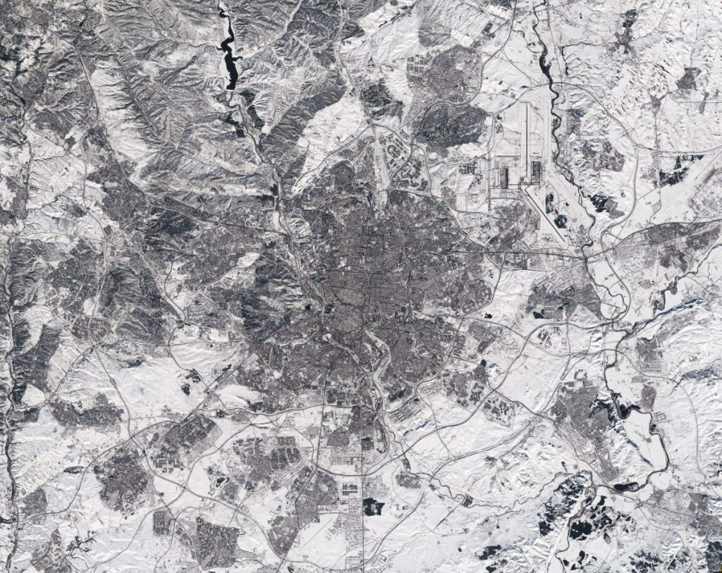 Madrid under snow, from space