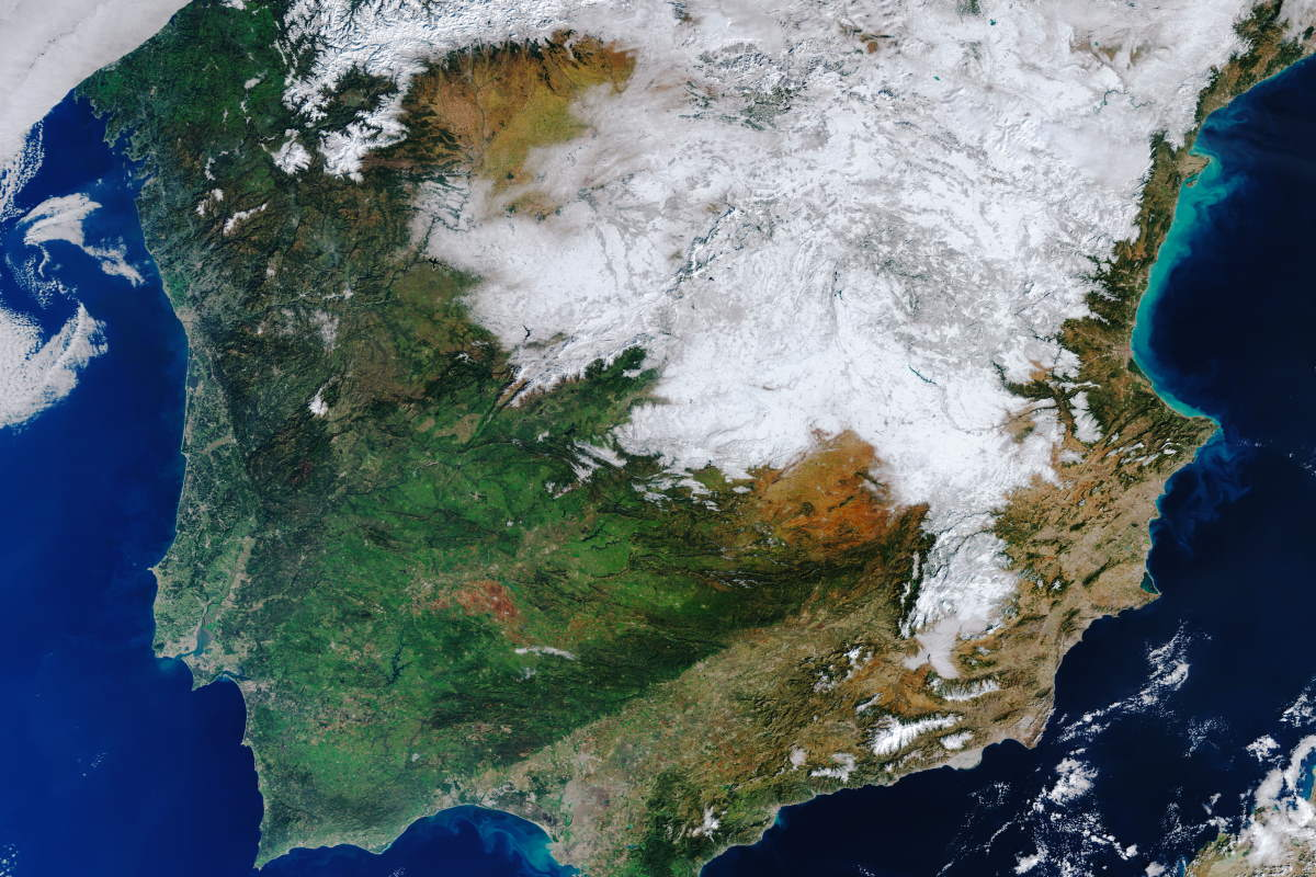 Spain under a snow blanket (cropped)