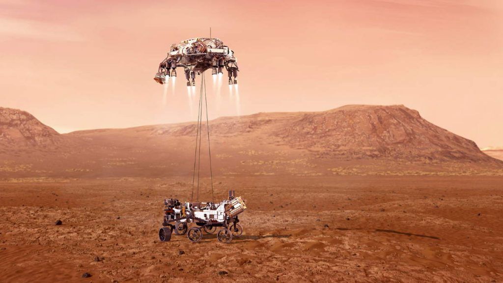 Perseverance Rover Mars Touchdown (artist conception)