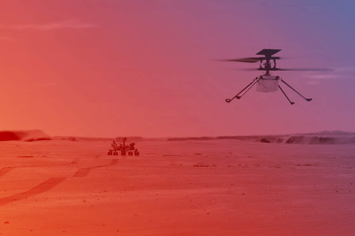 An illustration of NASA Ingenuity Helicopter flying on Mars