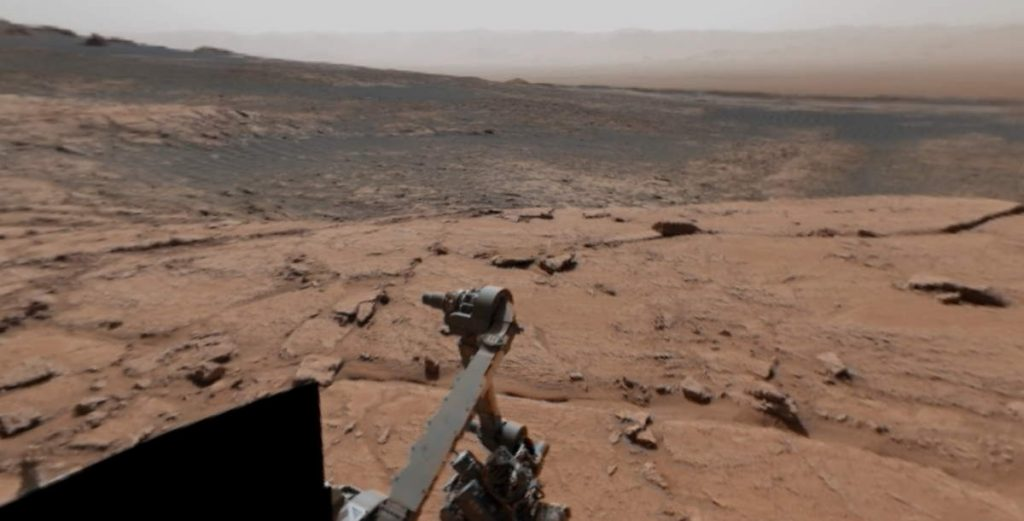 The view of the Curiosity Mars rover atop Mont Mercou