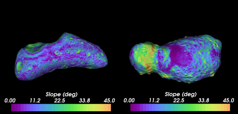 Colored topographical maps  of asteroids Eros and Itokawa